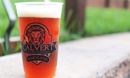 Beer Flights and Growlers for Two or Four with Optional Pint Glasses at Calvert Brewing Company (Up to 46% Off)