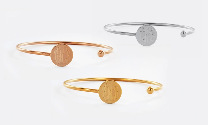 Monogram Online: $29.99 for a Silver- or Gold-Tone Slim Monogramed Bangle from Monogram Online ($79 Value)