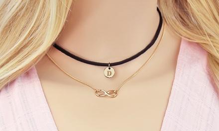 Custom Monogrammed Infinity Layered Black Choker Necklace from Monogram Online