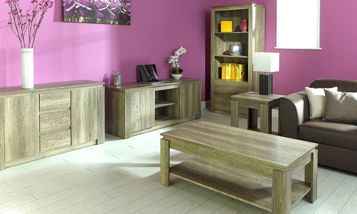Oak veneer living room furniture groupon goods Groupon uk living room furniture