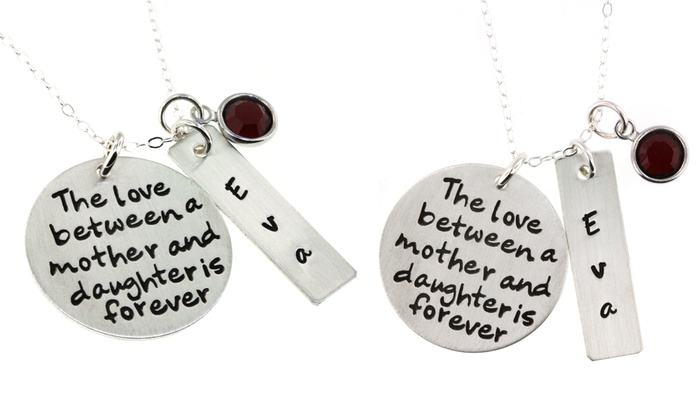 Hannah Design: Custom Mother & Daughter Pendant in Sterling Silver from ByHannahDesign