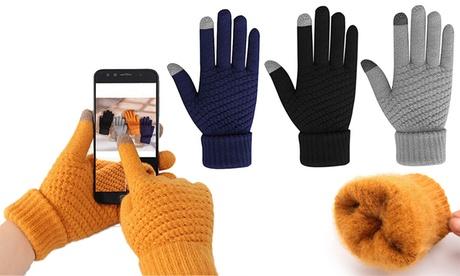 1 o 2 pares de guantes de punto con forro para pantallas táctiles