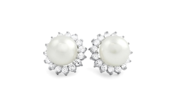 15mm Freshwater Pearl Stud Earrings With Swarovski Elements