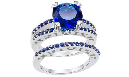 2.33 CTTW Blue-Sapphire 2-PC Ring Set in 10K White Gold with Free Pearl Earrings