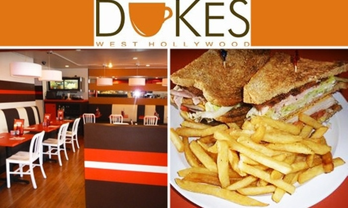 Dukes West Hollywood - West Hollywood: $10 for Classic Diner Fare and Drinks at Dukes West Hollywood