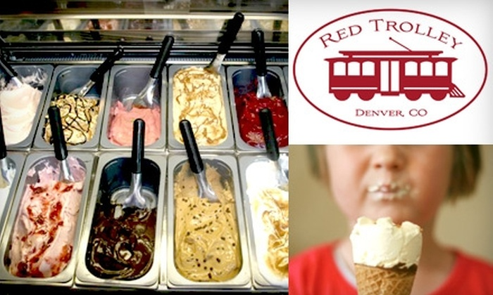 The Red Trolley - Highland: $5 for $10 Worth of All-Natural Ice Cream, Coffee Drinks, and Hot Dogs at The Red Trolley