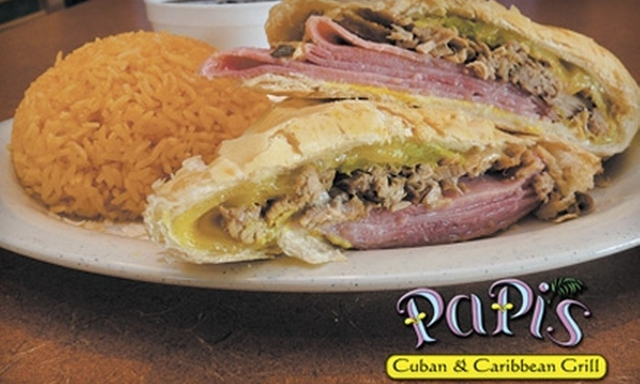 Papi's Cuban & Caribbean Grill - Multiple Locations: $5 for $10 Worth of Exotic Fare and Drinks at Papi's Cuban & Caribbean Grill