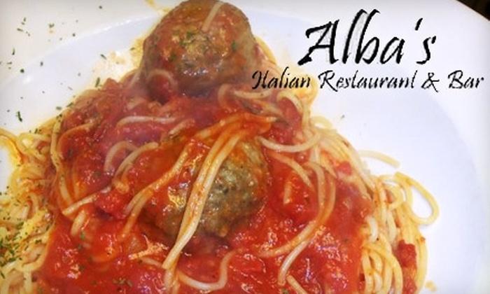 Alba's Italian Restaurant - Jenkins Heights-crest Ridge: $10 for $20 Worth of Italian Dinner Cuisine at Alba's Italian Restaurant & Bar (or $5 for $10 Toward Lunch)