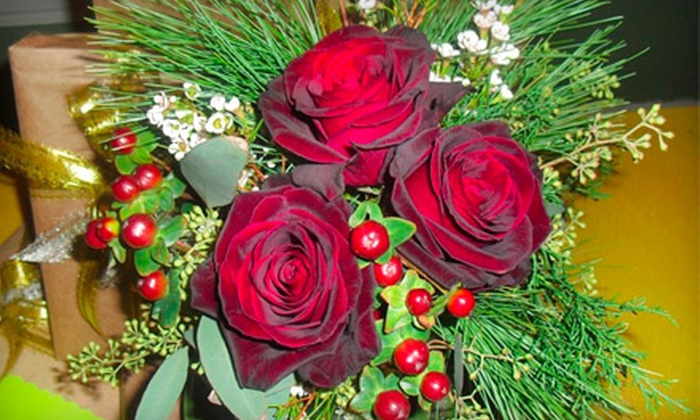 Flowers to the People - Marina Villa: Medium or Large Holiday Floral Centerpiece at Flowers to the People (Half Off)