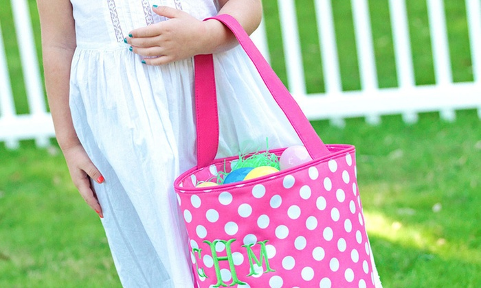 Luce Mia: Personalized Pink Chevron or Dot Easter Bucket from Luce Mia (56% Off)