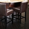 Lowry Brown Bonded Leather Counter Stools (Set of 2)