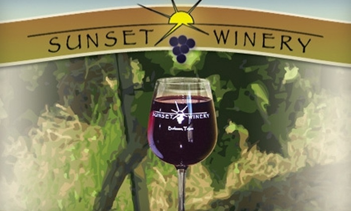 Sunset Winery - Burleson: $27 for a VIP Tour for Two, Tasting for Two, and One Personal Label at Sunset Winery in Burleson