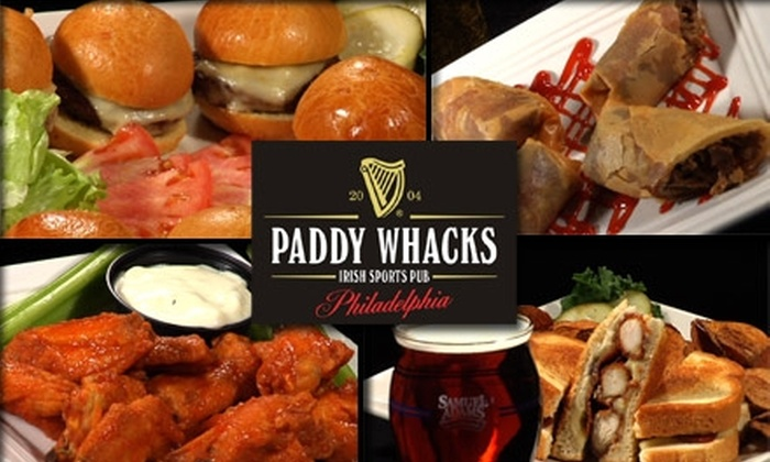 Paddy Whacks Irish Sports Pub - Center City East:  $10 for $25 Worth of Pub Grub and Brews at Paddy Whacks Irish Sports Pub