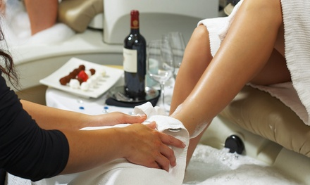 $30 for a Peppermint Spice Pedicure with Two Glasses of House Wine at The Nail Bar ($61 Value)