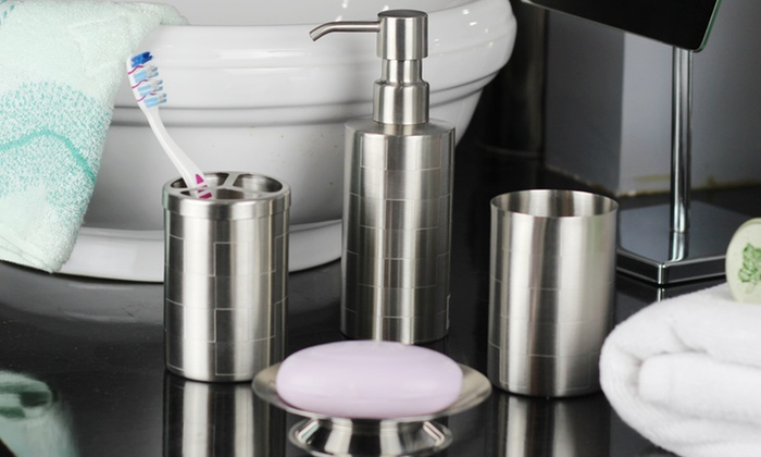 Stainless Steel 4-Piece Bath Accessory Sets: Stainless Steel 4-Piece Bath Accessory Sets. Multiple Designs Available. Free Returns.