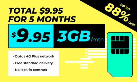 $9.95 for Five Months of Vaya Unlimited 3GB Mobile Plan Powered by Optus 4G Plus Network Don't Pay $80