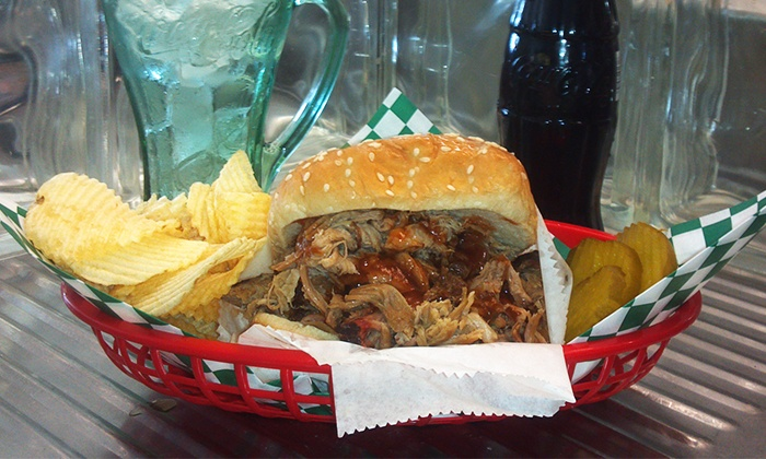 Old Tucker Fountain - Northlake: $10 for Pulled Pork Sandwiches, Chips, and Cokes for Two at Old Tucker Fountain ($19 Value)