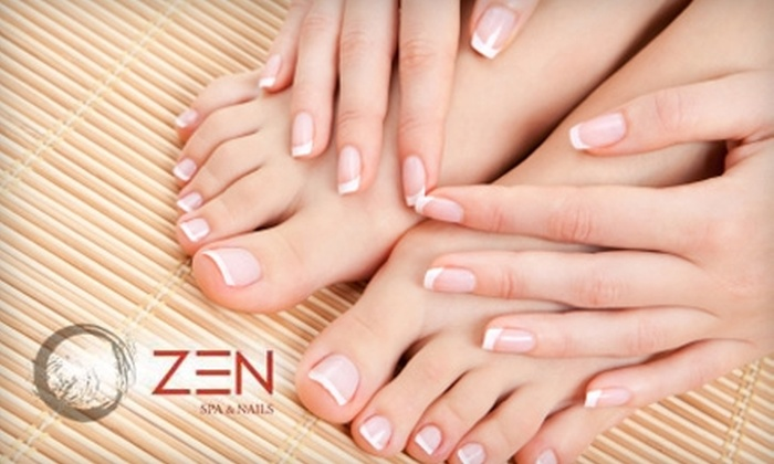 Zen Spa & Nails - Greensboro: $26 for Ultra Deluxe Mani-Pedi and Paraffin Wax Hand Treatment at Zen Spa & Nails
