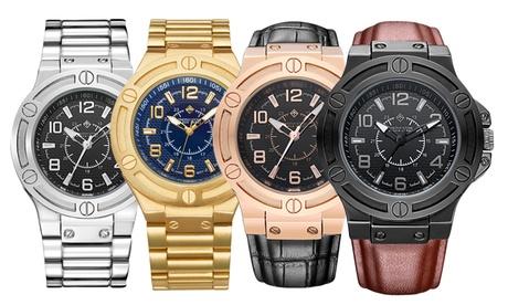 Reloj de hombre Timothy Stone con pulsera de metal cromado o de cuero (entrega gratuita)