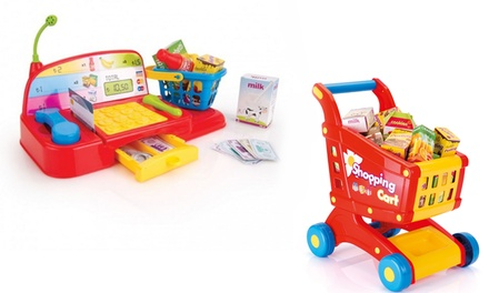 Dolu Toy Cash Register, Shopping Trolley With Food or Both