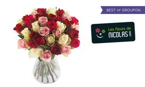 Les fleurs de Nicolas: Un bouquet Tout Doux, Tutti Frutti ou Mosaïque de 25, 40, 50 ou 60 roses chez Les Fleurs de Nicolas dès 19,90 €