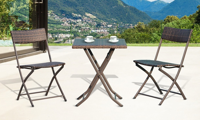 Outsunny Three-Piece Rattan-Effect Garden Furniture Bistro Set in Choice of Option from £54.98 With Free Delivery