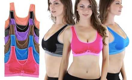 Padded Scoop-Back Sports Bras (6-Pack)