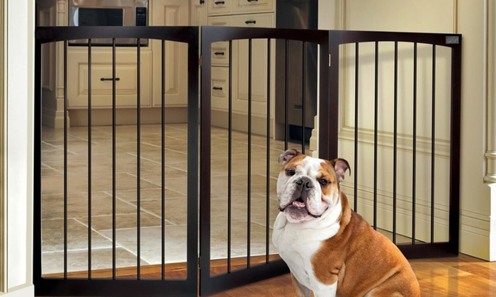 Folding Wooden Pet Gate Groupon Goods