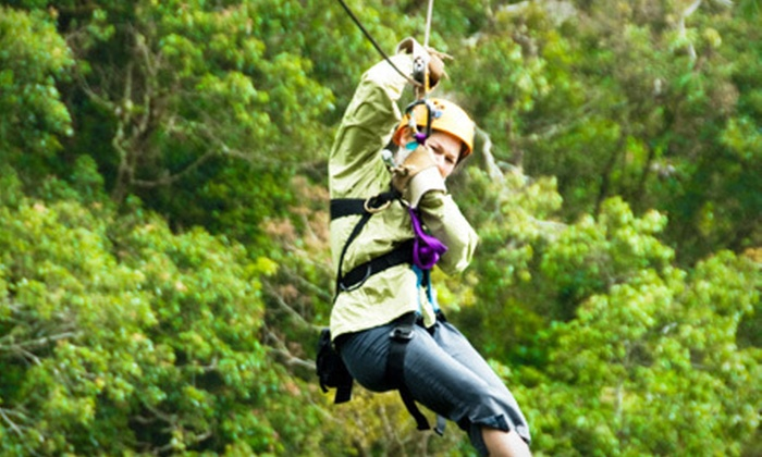Hocking Peaks Adventure Park - Falls: Zipline Adventure Packages for One or Four at Hocking Peaks Adventure Park in Hocking Hills (Up to 52% Off)