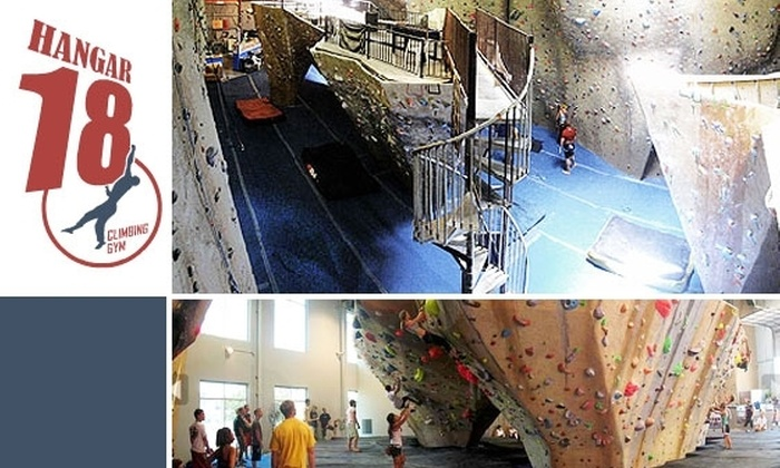 Hangar 18 - Upland: $30 for Two One-Hour Rock Climbing Lessons, Two Days of Rock Climbing, and Equipment Rental at Hangar 18 ($60 Value)