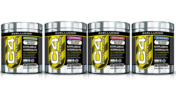 2-Pack of Cellucor C4 Extreme Preworkout Supplement: 2-Pack of Cellucor C4 Extreme 30-Serving Preworkout Supplement. Multiple Flavors Available. Free Shipping.