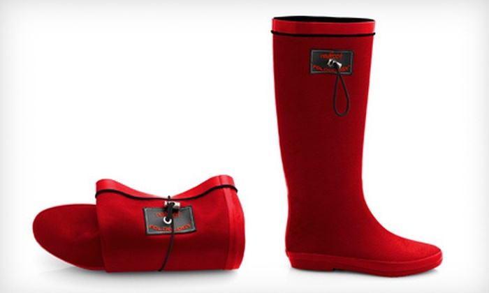 Redfoot Foldable Rain Boots: $34 for Redfoot Folding Wellington Boots in Matte Ruby Red ($99 List Price). Six Sizes Available.