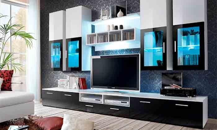 Muebles de sal n groupon goods - Muebles de salon con chimenea integrada ...