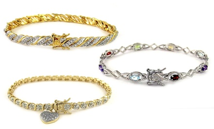 Genuine Diamond and Gemstone Bracelets in Sterling Silver or Gold-Plated Sterling Silver. Multiple Styles Available.