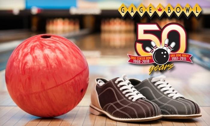Gage Bowl - North Topeka 2: $8 for Shoe Rental and Three Games at Gage Bowl