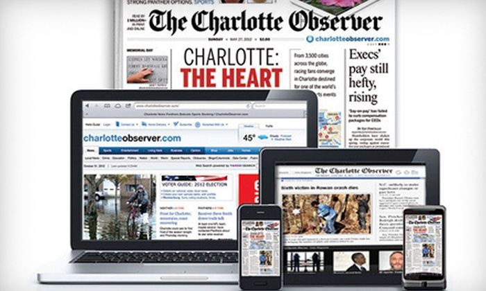 "The Charlotte Observer - First Ward: 26- or 52-Week Sunday Print Subscription with Full Digital Subscription to ""The Charlotte Observer"" (Up to 69% Off)"