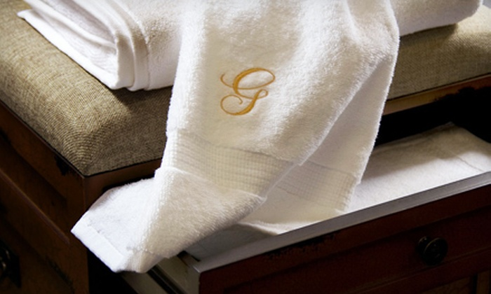 100% Egyptian Cotton Monogrammed Towel Set: Three- or Six-Piece 100% Egyptian Cotton Monogrammed Towel Sets