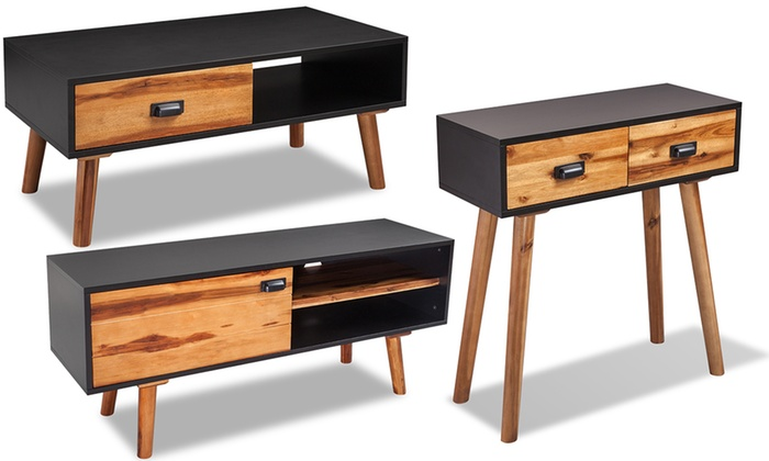 meubles en bois d 39 acacia massif groupon shopping. Black Bedroom Furniture Sets. Home Design Ideas