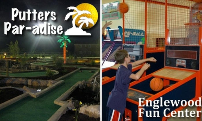 Putters Par-adise and Englewood Fun Center  - Englewood: $12 for Two Rounds of Mini Golf and 60 Arcade Tokens at Putters Par-adise and Englewood Fun Center in Englewood (Up to $28 Value)