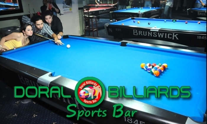 Doral Billiards & Sports Bar - Doral: $15 for One Hour of Billiards and One Pitcher of Beer or Soda at Doral Billiards & Sports Bar ($32 Value)
