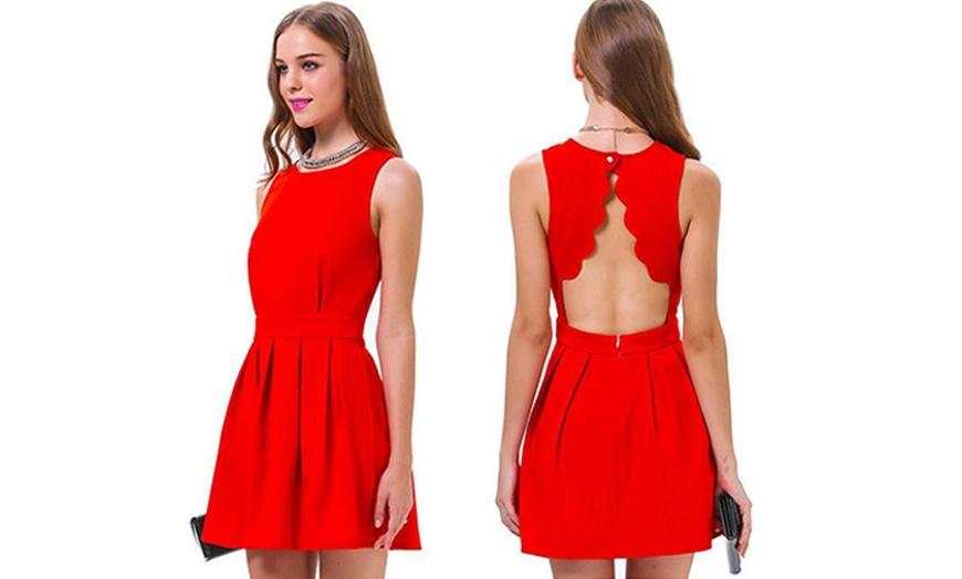 Rotes rückenfreies Kleid   Groupon Goods