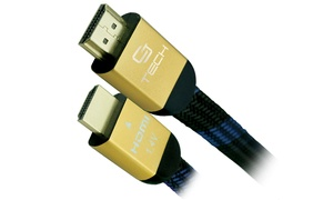 3', 6', or 12' Flat Braided 4K-Compatible HDMI Cable (1- or 2-Pack)