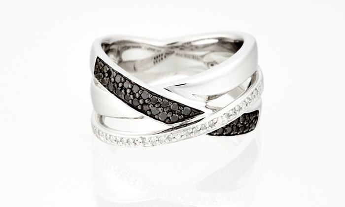 Black- and White-Diamond Ring: $59.99 for a Black- and White-Diamond Crossover Ring ($189.99 List Price). Free Shipping and Free Returns.