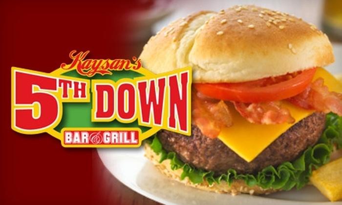 Kaysan's 5th Down Bar and Grill - Fort Wayne: $7 for $15 Worth of American Fare and Brews at Kaysan's 5th Down Bar and Grill