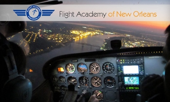 Flight Academy of New Orleans - New Orleans: $79 for an Aerial Flight Tour for Two ($158 Value) or $110 for a Flight Lesson ($220 Value) at Flight Academy of New Orleans