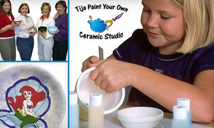 """Tija Ceramic Studio and Art Cafe - Burlington: $49 for a Kid's """"Birthday Party to Go!"""" Package from Tija Ceramic Studio and Art Cafe ($119 Value)"""