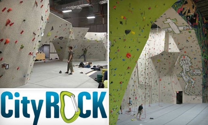 CityROCK  - Multiple Locations: $12 for an All-Day Indoor Rock-Climbing Package at CityROCK (Up to $26 Value)