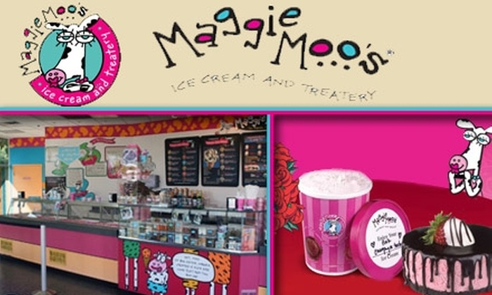 Maggie Moo's - Downtown Medical Center: $10 Valentine's Day Cake for Two and One Quart of Pink Champagne Sorbet ($21 Value)