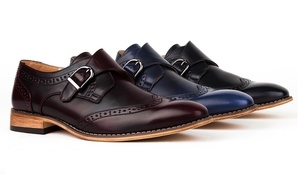 Gino Vitale Men's Monk-Strap Wing-Tip Dress Shoes