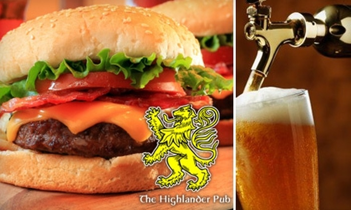 The Highlander Pub - Byward Market - Parliament Hill: $10 for $20 Worth of Scottish Pub Fare and Drinks at The Highlander Pub